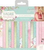 """16 Designs/3 Each - Vintage Tea Party Single-Sided Paper Pad 6""""X6"""" 48/Pkg"""
