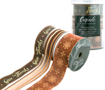 Brass Metallic W/Brown, Pumpkin & Gold - Cascade Ribbon Give Thanks Collection 3/Pkg