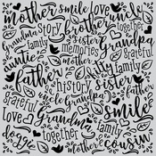 """Family Word - Hero Arts Cling Stamps 6""""X6"""""""