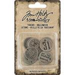 Antique Nickel Halloween Metal Typed Tokens - Tim Holtz