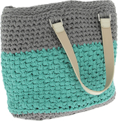 Stone Gray & Mint - Hoooked Valencia Bag Kit W/Ribbon XL Yarn