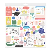 Hooray Pewter Sequins Chipboard Stickers - Crate Paper