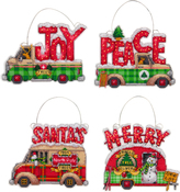 "Holiday Trucks Up To 5""X4"" (14 Count) - Dimensions Plastic Canvas Ornament Kit 4/Pkg"