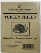White - The Krafty Gourmet Turkey Frills Paper Leg Caps 4/Pkg