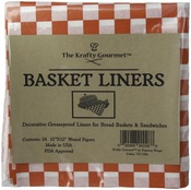 Red & White Check - The Krafty Gourmet Basket Buddies Greaseproof Liners 24/Pkg