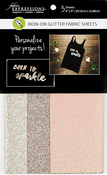 "Fashion, 1 Each Of 3 Colors - Fabric Expressions Fusible Glitter Sheets 8""X9"" 3/Pkg"