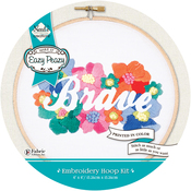 Brave Stamped On Canvas - Needle Creations Easy Peasy Reverse Embroidery Kit 6""