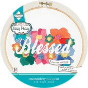 Blessed Stamped On Canvas - Needle Creations Easy Peasy Reverse Embroidery Kit 6""