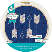 Arrows Stamped On Denim Canvas - Needle Creations Easy Peasy Embroidery Kit 6""