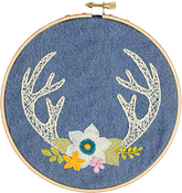 Antlers Stamped On Denim Canvas - Needle Creations Easy Peasy Embroidery Kit 6""