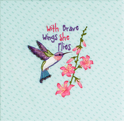 "Hummingbird Stamped On Canvas - Needle Creations Easy Peasy Embroidery Kit 8""X8"""