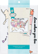"USA Stamped On Canvas - Needle Creations Easy Peasy Embroidery Kit 8""X10"""