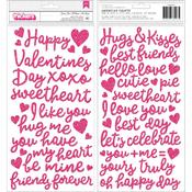 Phrases Pink Glitter Foam Thickers - Loves Me - Pebbles