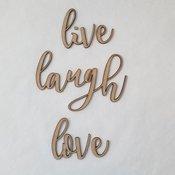 Live Laugh Love Script Wood Font - Foundations Decor