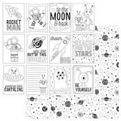 Black & White Color Me Cards Paper - To The Moon And Back - Photoplay