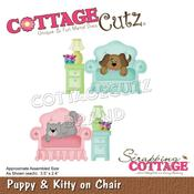 "Puppy & Kitty On Chair 3.5""X2.4"" - PRE ORDER"