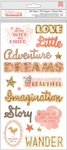 Girl Rose Gold Glitter Phrase & Icon Thickers - Little Adventurer - Pink Paislee