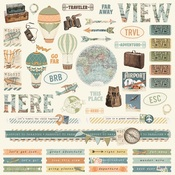 Simple Vintage Traveler Combo Sticker - Simple Stories