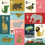 A-L Animal Alphabet Cards Paper - Animal Safari - Echo Park