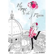 Fly Me To The Moon A4 Rice Paper Sheet