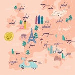 Travel Map Paper - Let's Travel - Carta Bella