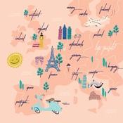 Travel Map Paper - Let's Travel - Carta Bella - PRE ORDER