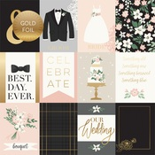 3X4 Journaling Cards Gold Foiled Paper - Wedding Day - Echo Park