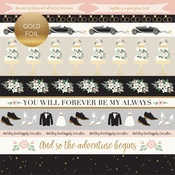 Border Strips Gold Foiled Paper - Wedding Day - Echo Park - PRE ORDER