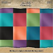 "Jewels - Idea-Ology Paper Stash Kraft Metallic Paper Pad 8""X8"""