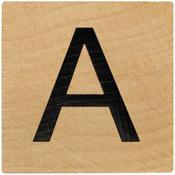 A Wood Alphabet Tile - 2 Inch
