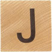 J Wood Alphabet Tile - 2 Inch