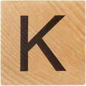 K Wood Alphabet Tile - 2 Inch