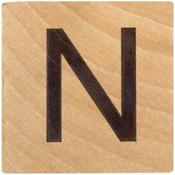N Wood Alphabet Tile - 2 Inch
