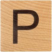 P Wood Alphabet Tile - 2 Inch