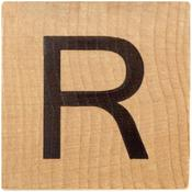 R Wood Alphabet Tile - 2 Inch
