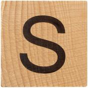 S Wood Alphabet Tile - 2 Inch