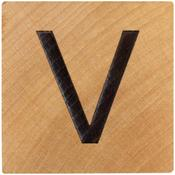V Wood Alphabet Tile - 2 Inch
