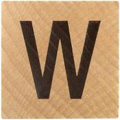 W Wood Alphabet Tile - 2 Inch