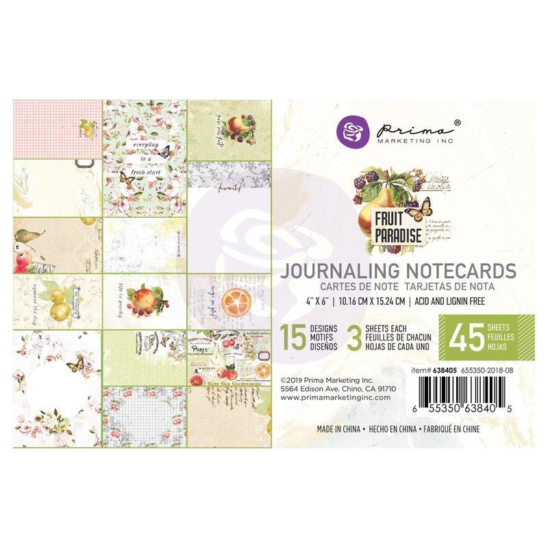 Fruit Paradise 4X6 Journaling Cards - Prima - Fruit Paradise