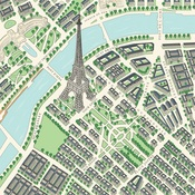 Map of Paris Paper - En Vogue - Carta Bella
