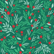 Deck The Halls Foil Accented Paper - Holly Jolly - My Minds Eye