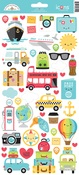 I ♥ Travel Icons Sticker Sheet - Doodlebug