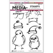 Scribbly Holiday Birdie 2 Dina Wakley Media Cling Stamp