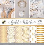 """Gold & White - DCWV Single-Sided Cardstock Stack 12""""X12"""""""