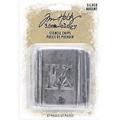 Silver Idea-Ology Stencil Chips 37/Pkg