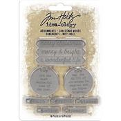 Antique Nickel Christmas Words Idea-Ology Metal Adornments