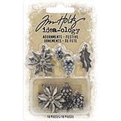 Antique Nickel Festive Idea-Ology Metal Adornments 10/Pkg