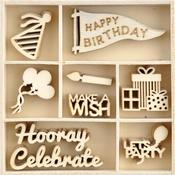Oh Happy Day! Wood Mini Themed Embellishments - KaiserCraft