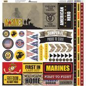 Marines Elements Cardstock Stickers - Reminisce