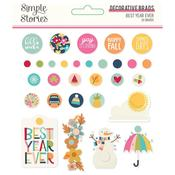Best Year Ever Decorative Brads -  Simple Stories